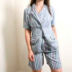 Vintage 80s Summer Blazer and Shorts Set Two Piece